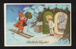 FRITZ BAUMGARTEN Kinder Im Schnee Golddruck - Baumgarten, F.