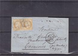 France - Lettre De 1876 - Oblit Lille - Exp Vers Tamines - Cachet France Midi 4 - Valeur 25 Euros - 1871-1875 Ceres