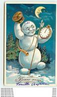 N°11241 - Carte Fantaisie - Bonne Année - Bonhomme De Neige Avec Une Montre - New Year