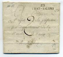 52 CHAT-SALINS  ( Chateau Salins )   / Dept De La Meurthe /  26 Messidor An 11 / Ecrite De Belange - 1801-1848: Voorlopers XIX