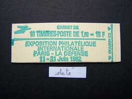 2155-C2 CONF. 4 CARNET DATE DU 13.8.81 FERME 10 TIMBRES SABINE DE GANDON 1,60 ROUGE PHILEXFRANCE 82 - Usados Corriente