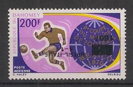 Dahomey - 1970 - PA N°Yv. 129 - Football - Variété Surcharge Noire Renv. / Inv. Black Ovpt. - Neuf Luxe ** - Benin – Dahomey (1960-...)