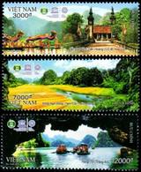 Vietnam 2482/84 Et Bf 145 Unesco, Temple, Cérémonies, Géologie, Rizière, Bateaux, Pont - UNESCO