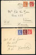 TARIF PREFERENTIEL POUR LE CANADA N°235  + N°283 Obl. Nantes Gare 17/6/1937 Env. Pour VERNON Au CANADA Voir Description - 1921-1960: Modern Period