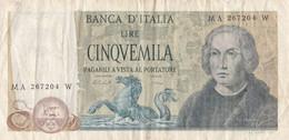 Banconota Da Lire 5000 Decr. Min. 10 Novembre 1977 E 15 Maggio 1971 Serie MA 267204 W. C. Colombo - 5000 Liras