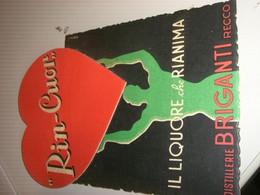 TARGA PUBBLICITARIA RIN-CUOR IL LIQUORE CHE RIANIMA DISTILLERIE BRIGANTI RECCO - Plaques En Carton
