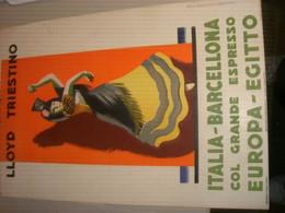 TARGA PUBBLICITARIA LLOYD TRIESTINO ITALIA BARCELLONA CON GRANDE ESPRESSO EUROPA EGITTO - Plaques En Carton
