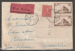 "Enveloppe 07/08/1930 Cachet Octogonal New-York Au Havre ""B"" Affranchissement Timbres Français - 1927-1959 Briefe & Dokumente"
