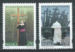 Pologne YT N°3638/3639 Massacre Des Officiers Polonais à Katyn Neuf ** - Ungebraucht