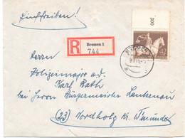 """Einschreiben, Bremen,,""""Briefmarkenverein"""", Inhaltsschreiben,Vignette, Gest. 1943, Marke Mit Rand - Storia Postale"""
