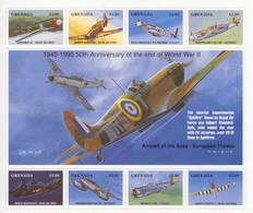 Grenada - Aircraft Of The Aces - Spitfire-Hurricane-Mustang-ME109-Bristol-ME262-P-47D-Tempest - 8v Sheet  Neuf/Mint MNH - Avions