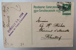 14042 - Entier Postal Etincelle Sa Nyon  Bureau De Vente D' Allumettes Cachet Ambulant 02.04.1924 Pour Fehraltorf - Stamped Stationery