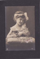 Cat Card -   Young Girl With Kitten, With Real Ribbon On Cushion And Green Stones In Cats Eyes.     RPPC. - Cats