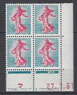 CD 1233 FRANCE 1961 COIN DATE 1233  : 27 7 61  LA SEMEUSE DE PIEL D APRES ROTY - 1960-1969