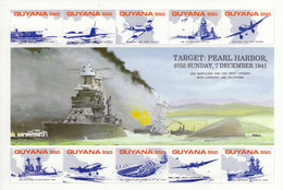Guyana  -  Attack On Pearl Harbour - 7th December 1941   -  Large 10v Sheet  Neuf/Mint MNH - Guerre Mondiale (Seconde)