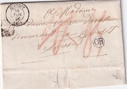 FRANCE   1856 LETTRE DE QUINGEY  AVEC CORRESPONDANCE - 1801-1848: Precursori XIX