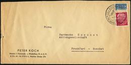 BUND 1954, BRIEF MIT NR. 185, 20 Pf. HEUSS, SST 94 JAHRE ZOO KÖLN-KÖLN-NIPPES - Covers & Documents