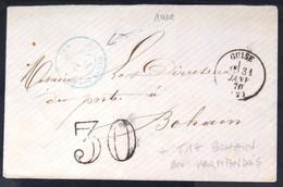 CACHET Type 16 Sans Timbre + TAXE 30 + T17 BOHAIN EN VERMANDOIS - GUISE - AISNE - LSC - 1870 - 1849-1876: Classic Period