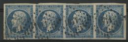 N° 14 A Bande De Quatre Cote 38 € Obl Pc 1141  (voir Description) - 1853-1860 Napoléon III