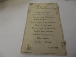 Menu Ancien 12 Aout 1900 - Menus