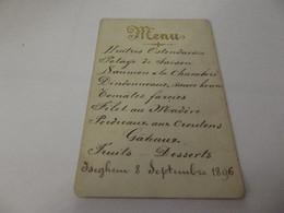 Menu Ancien 8 Septembre 1896 - Menus
