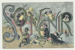 Carte Fantaisie Multivues - Souvenir - Lettres -femme Enfants Couple Homme - Fleurs - - Zonder Classificatie