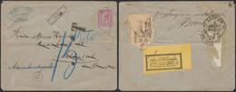 """émission 1884 - N°46 Sur Lettre Obl Ambulant """"Midi IV"""" + Griffe Encadrée """"Silly"""" (R !) > Aix-la-chapelle + étiquette AL - 1884-1891 Leopold II"""