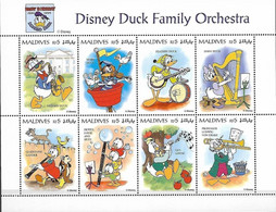 MWD-BK5-298-1 MINT PF/MNH ¤ MALDIVES 1995 8w In Serie ¤ THE WORLD OF WALT DISNEY - DISNEY DUCK FAMILY ORCHESTRA - Disney