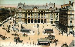 CPA -  PARIS - GARE SAINT-LAZARE ET COUR DE ROME (IMPECCABLE) - Transporte Público