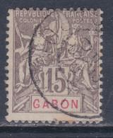 Gabon  N° 21 O  Type Goupe : 15 C. Gris,  Oblitération Légère  Sinon TB - Used Stamps