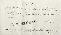 1835 Portugal Pré-Filatelia Santiago Do Cacém STC 1 «STIAGODECACEM» Sépia - ...-1853 Vorphilatelie