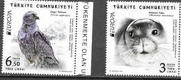 TURKEY, 2021, MNH, EUROPA, ENDANGERED WILDLIFE, BIRDS, SEALS, 2v - Sonstige