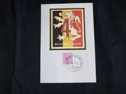 BELG.1974 1703 - FDC Mcard Soie – Chiffre Sur Lion Héraldique- FDC Zijde – Cijfer Op Heraldieke Leeuw - 1971-80