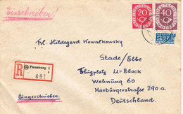 41088. Carta Certificada FLENSBURG (Alemania Federal) 1954. Stamp NOTOFER Berlin - Lettres & Documents