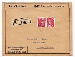 Lettre Recommandée 1935 Bern Suisse Helvetia Tête Bêche Vitznau - Tête-Bêche