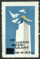 """Diksmuide Belgie Belgique Vlaanderen """" Ijzer Bedevaart 1963 """" Vignette Cinderella Reklamemarke G - Cinderellas"""