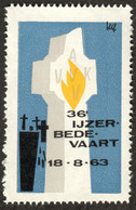 """Diksmuide Belgie Belgique Vlaanderen """" Ijzer Bedevaart 1963 """" Vignette Cinderella Reklamemarke E - Cinderellas"""