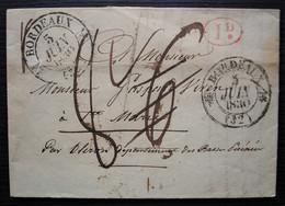 Bordeaux 1830 2 Cachets T12 + Décime Rural Rouge Lettre Taxée 6 Puis 8 Pour Sainte Marie Par Oloron - 1801-1848: Précurseurs XIX