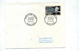 Lettre  Fdc 1955 Nantes Jules Vernes - 1950-1959