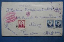L19  ESPAGNE BELLE LETTRE CENSUREE RARE  1937 GUERRE CIVILE     POUR  NANCY FRANCE + PAIRE T.P  + AFFRANCH INTERESSANT - Marques De Censures Républicaines