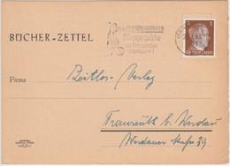 DR - 3 Pfg. AH Bücherzettel Mannheim - Fraureuth B. Werdau 1943 - Covers & Documents