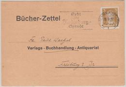 DR - 3 Pfg. Goethe Bücherzettel Dresden - Freiburg 1927 - Covers & Documents