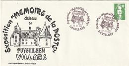 OT Sur Enveloppe : Expo Mémoire De La Poste Château Puyguilhem (Villars, 24-Dordogne-Périgord) Du 22-06-1991 Sur YT 2627 - Cachets Commémoratifs