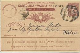 ITALIE - MANDAT CARTE 5 LIRE - C à D  VENEZIA 22-1-92 - Interi Postali