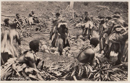 549 – Real B&W RPPC Photo – Fiji Fidji – Firewalking – Dance Costume Tradition Ceremony Celebration – VG Condition - Fiji