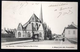 Nemours: L'absyde De L'église Et La Rue De Paris (attelage, Remorque) - Nemours