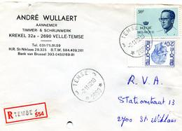 1982 R Firma Enveloppe Met Ster Stempel TEMSE 3 2690 Op Verschillende Boudewijn Zegels ( Velghe En Elstrom ) - Lettres & Documents