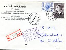 1983 R Firma Enveloppe Met Ster Stempel TEMSE 3 2690 Op Verschillende Boudewijn Zegels ( Velghe En Elstrom ) - Lettres & Documents
