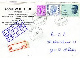 1983 R Firma Enveloppe Met Ster Stempel TEMSE 3 2690 Op Verschillende Boudewijn Zegels ( Velghe En Elstrom ) + Bijfrank. - Lettres & Documents