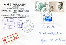 1984 R Firma Enveloppe Met Ster Stempel TEMSE 3 2690 Op Verschillende Boudewijn Zegels ( Velghe En Elstrom ) - Lettres & Documents